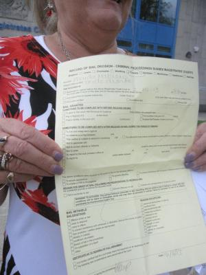 Anti-fracking campaigner with unconditional bail form