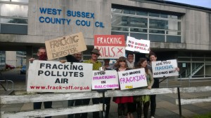 Campaigners outside nearby West Sussex County Council offices today (2/10/13)