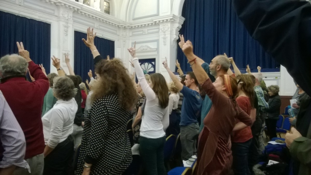 The audience in Lewes Town Hall shows its support for the campaign against fracking