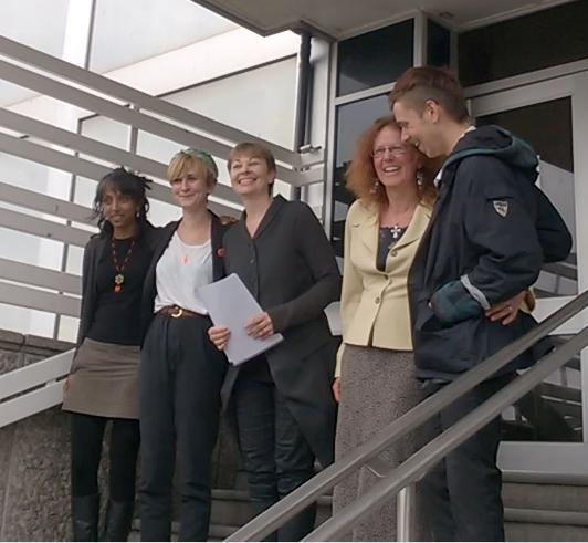 Caroline Lucas prepares to read statement after the acquittal of her and four other anti-fracking protesters