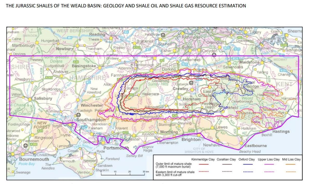 Coloured lines indicate areas with greatest potential. The BGS  says the Kimmeridge and Oxford Clay areas offer the best prospect for shale oil.