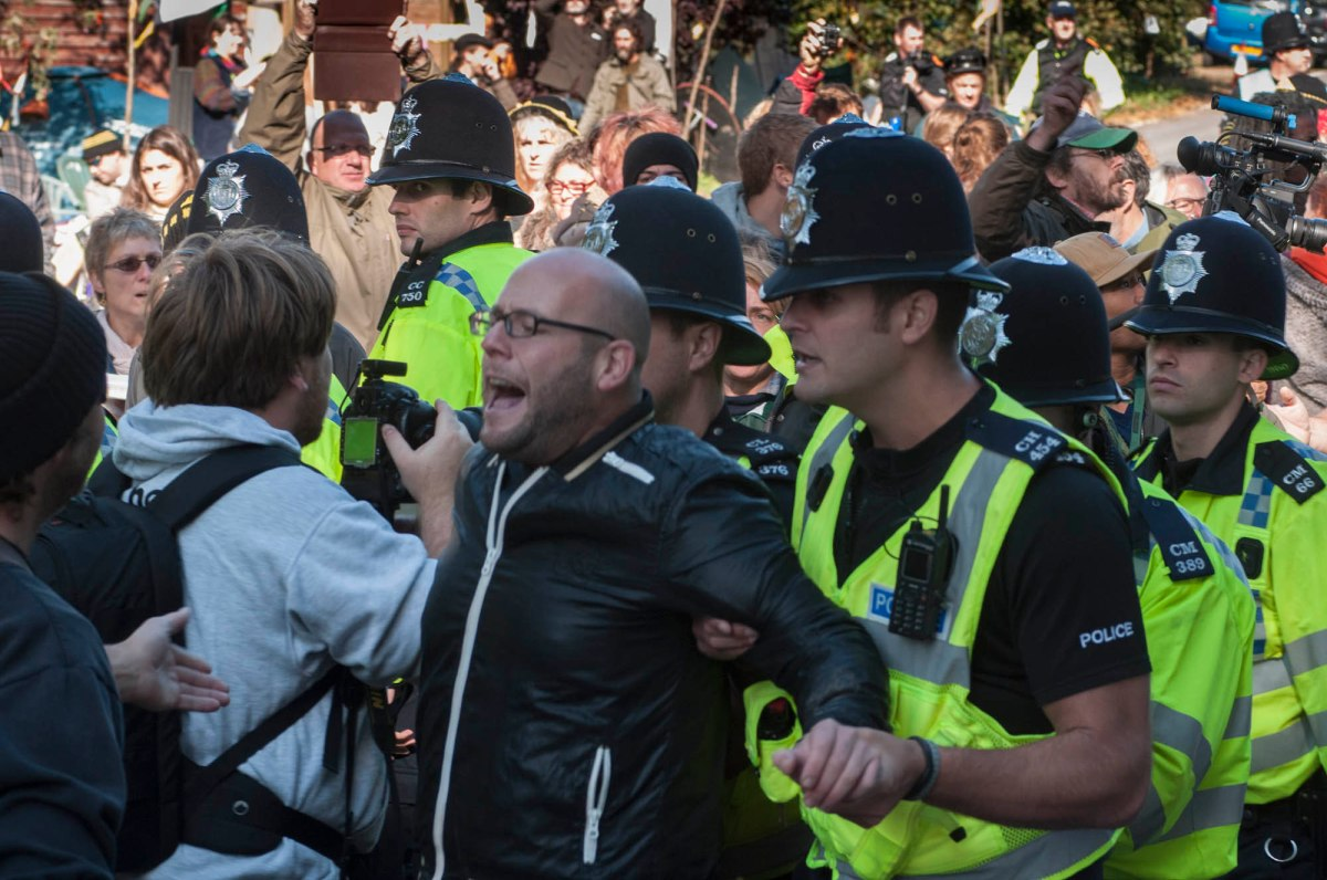 Simon Welsh's arrest at Balcombe on September 10th 2013 Picture by David Burr