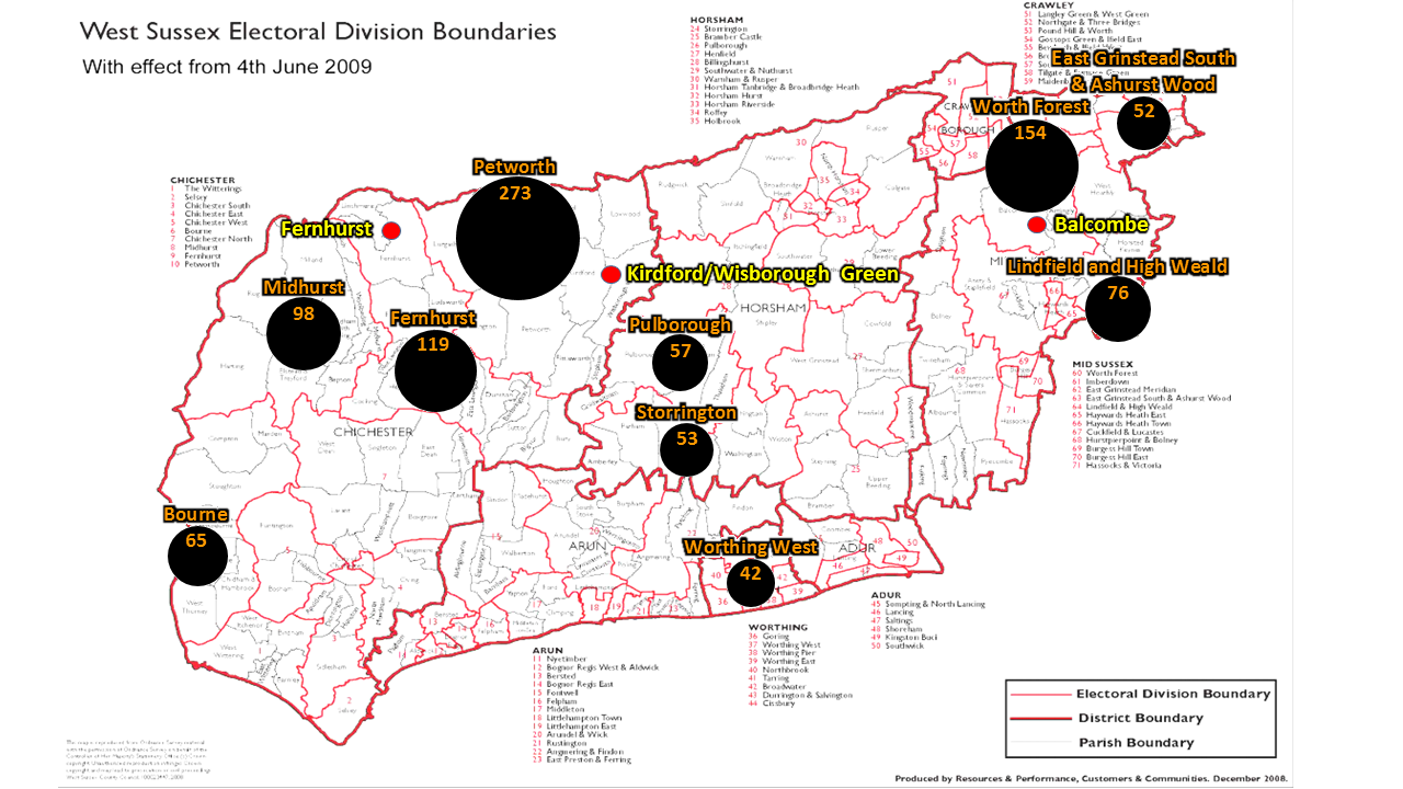 The number of signatures received from the top 10 electoral divisions