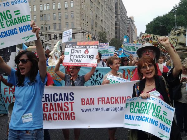 Anti-fracking campaigners at the Peoples' Climate March in New York
