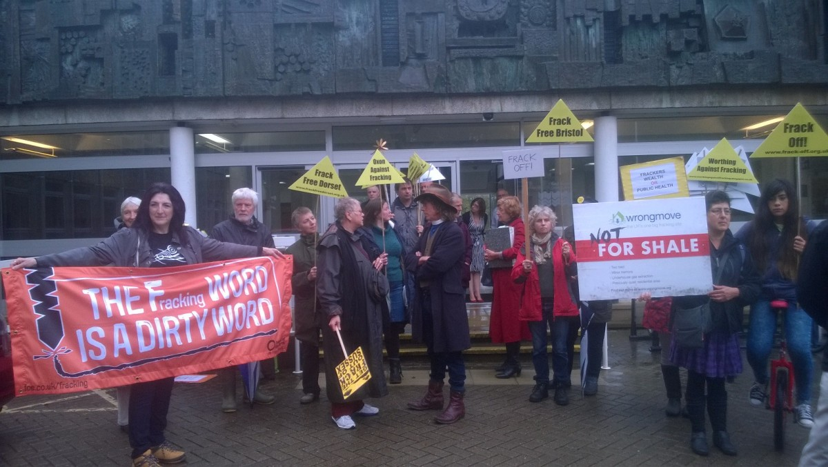 Anti-fracking campaigners outside County Hall before the meeting