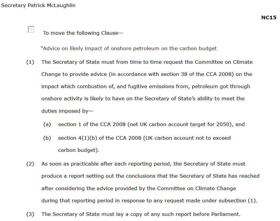 Government amendment to the Infrastructure Bill