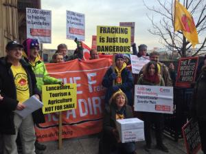 Anti-fracking campaigners outside Lancashire County Council this morning