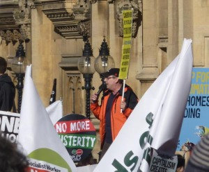 Gayzer Frackman, Lancashire anti-fracking campaigner addressing Saturday's march