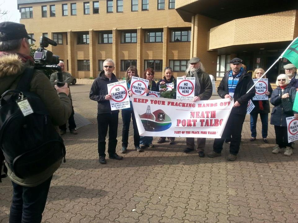 Campaigners outside Neath Port Talbot Council meeting