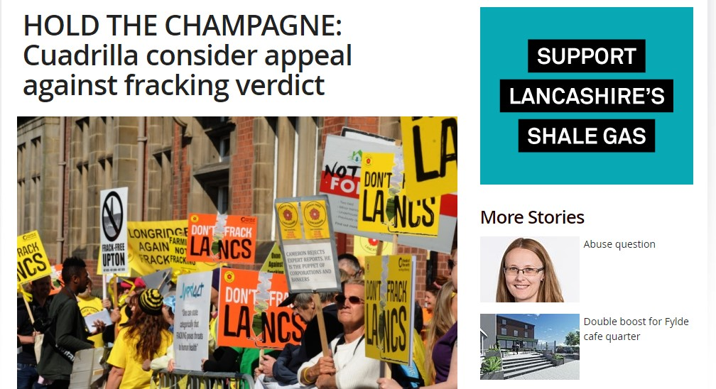 Pro-fracking advert  (top right of image) from the North West Energy Task Force on the Blackpool Gazette website