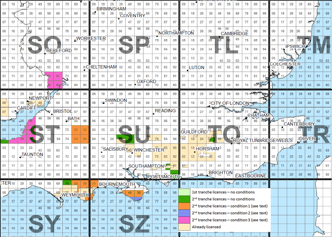 Proposed licences and conditions under 14th Oil and Gas Licence Round - southern England