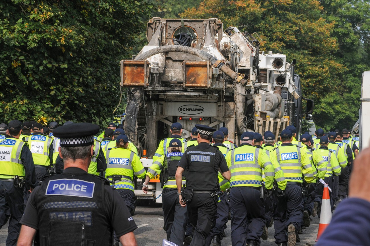 Cuadrilla drilling rig leaves the Balcombe, West Sussex, UK site
