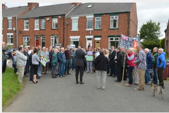 Opponents of the Alkane Energy's proposals for gas extraction at Calow in Derbyshire