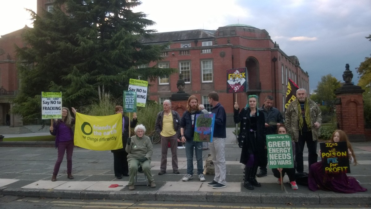 Opponents of the IGas application outside Trafford Town Hall before the meeting