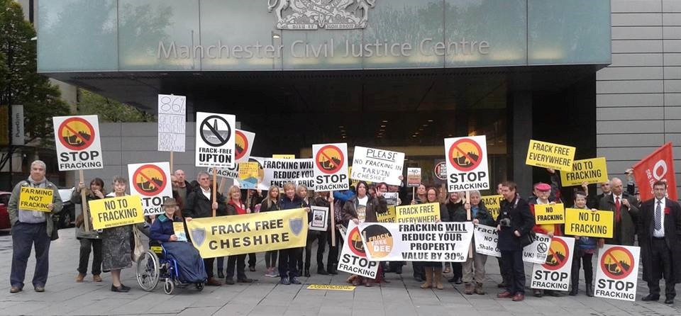 Campaigners outside the court this morning
