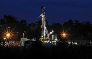 Night shift at Balcombe as Cuadrilla  continue drilling. This picture taken after sunset around 9pm.