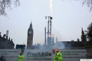 Greenpeace install a life-like ten-metre fracking rig and drill at Parliament Square in London this morning to 'bring the local impacts of fracking to the heart of democracy'.  The rig emits a realistic flame which is firing up every hour using bio ethanol, while flood lighting and the sound effects of drilling and lorries are reverberating around the House of Commons.