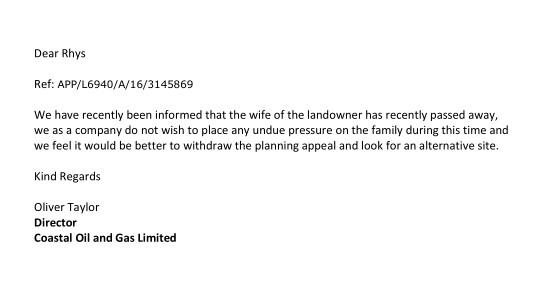 Llanharan appeal letter