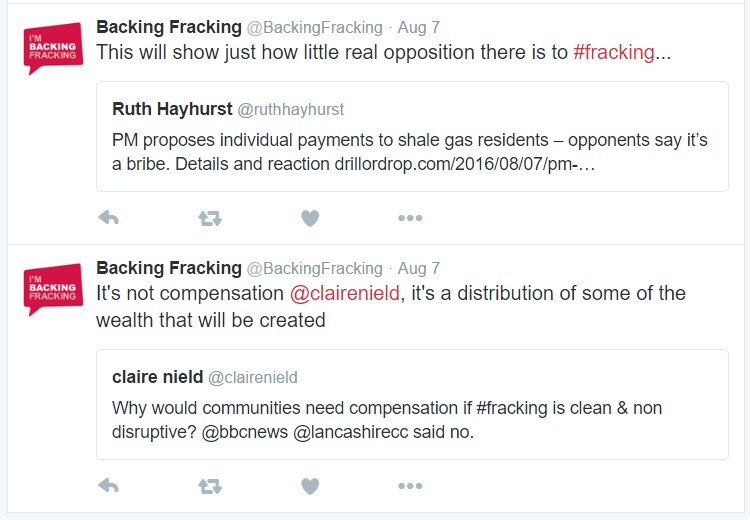 Backing fracking tweet