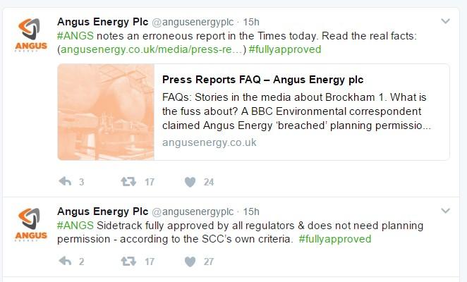 Angus Energy tweet 170320