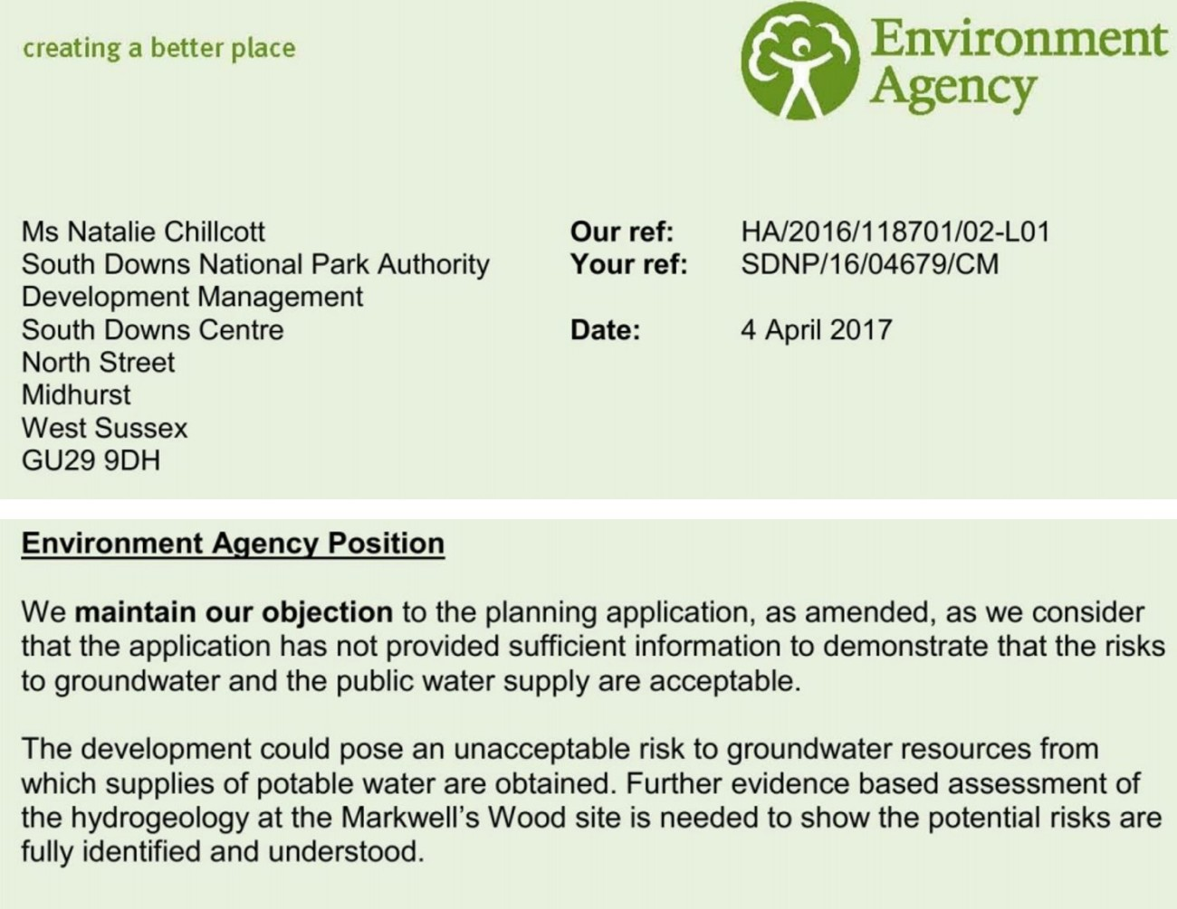 EA objection on Markwells Wood