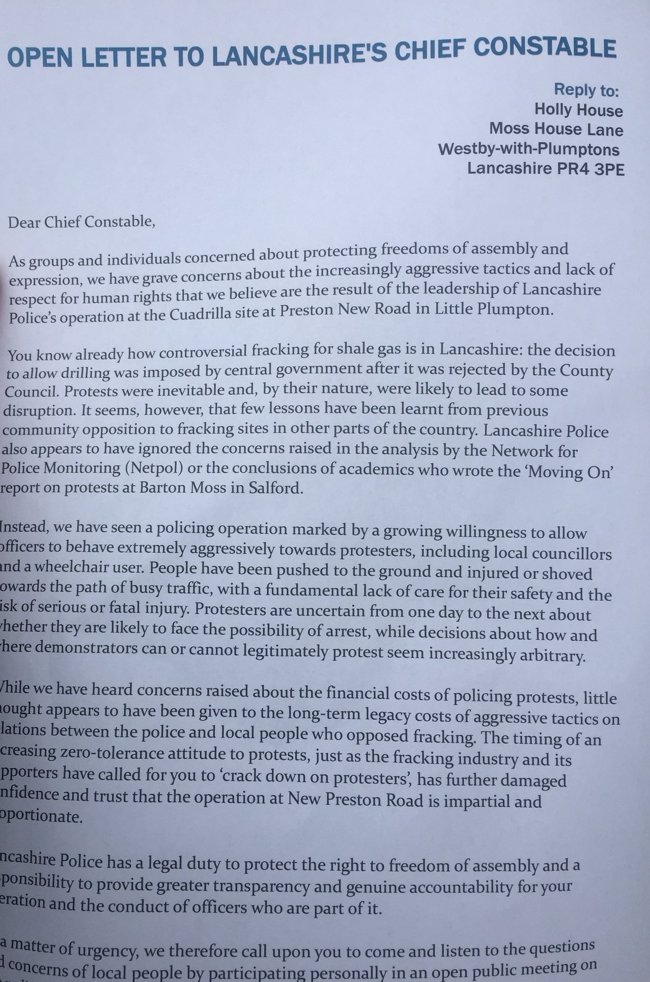 Lancs police letter