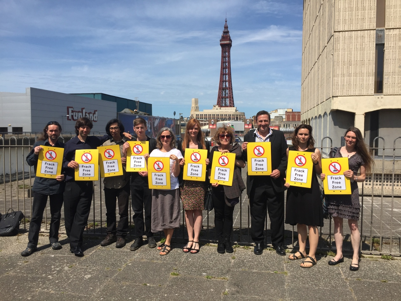 Campaigners outside the court in Blackpool 170619 Greenpeace