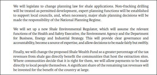 Conservative manifesto shale