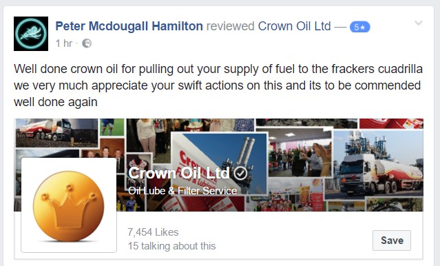 Crown oil Facebook message