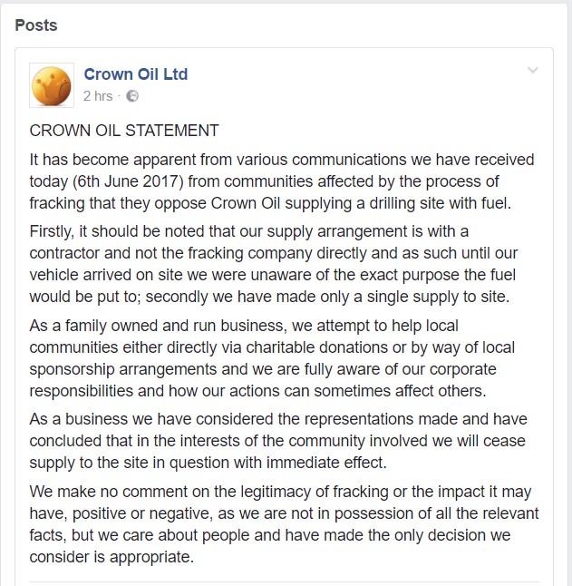 Crown Oil statement