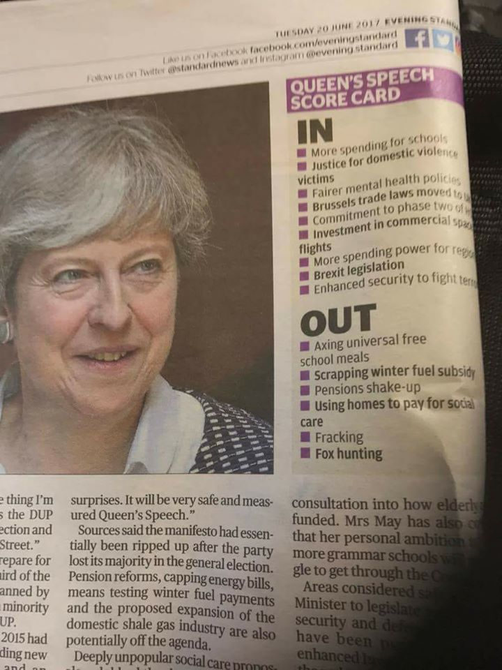 Queen's speech - evening standard