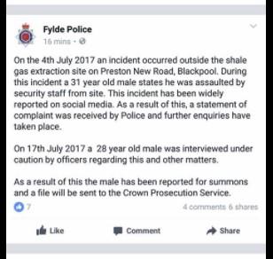 170719 Fylde Police Facebook