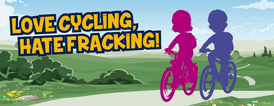 Tour of Britain 2017 love cycling hate fracking poster