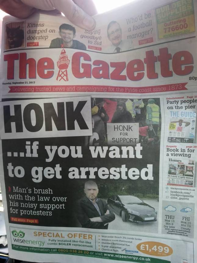 Brian Morrison Blackpool Gazette front sept 2017