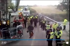 Operation to remove a campaigner from a tower outside Third Energy's fracking site, 2 October 2017. Photo from video by Steve Spy