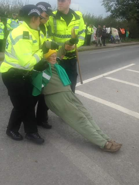 Police Drag 85 Year Old Woman Across Road From Fracking