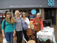 Frack Free stall at Edwinstowe in Nottinghamshire, 14 October 2017. Photo: Pauline Meechan