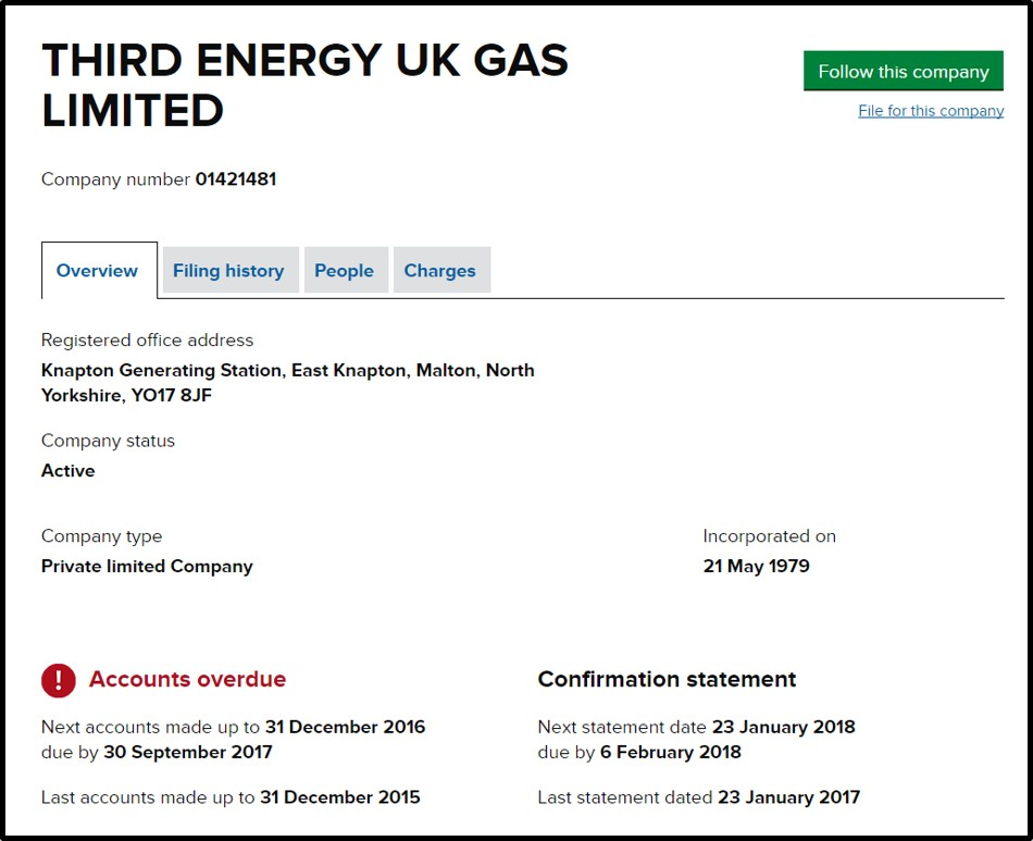Third Energy UK Gas Ltd accounts page