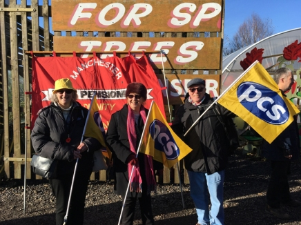 North west trades union visit Cuadrilla's Preston New Road site at Little Plumpton near Blackpool, 11 November 2017. Photo: Frack Free Greater Manchester