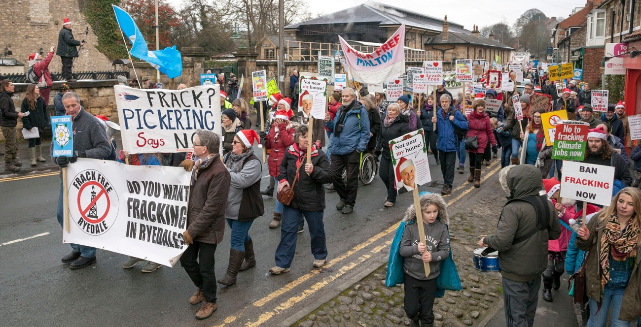 Protesters on Frack Free Pickering march and rallyPickering, North Yorkshire