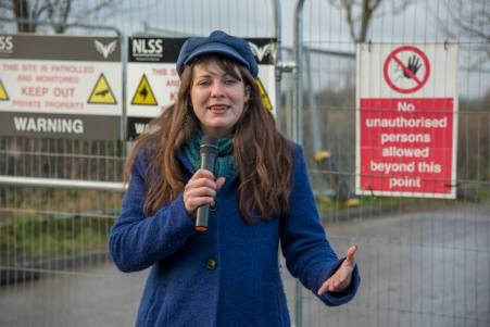 Amelia Womack on a visit to protesters outside Third Energy's Kirby Misperton site in North Yorkshire, 15 December 2017. Photo: Richard Burdon