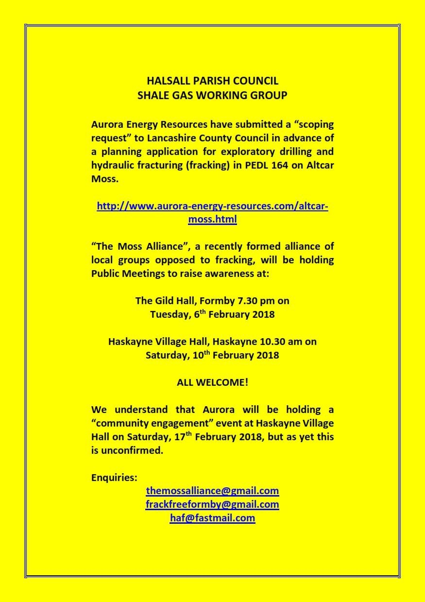 Halsall Parish Council shale gas working group poster