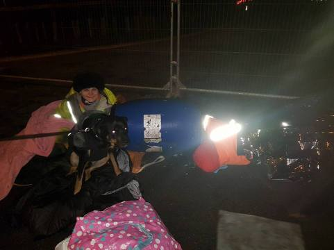 Lock-on protest, Cuadrilla's shale gas site at Preston New Road, 8 January 2018. Photo: Louise Robinson