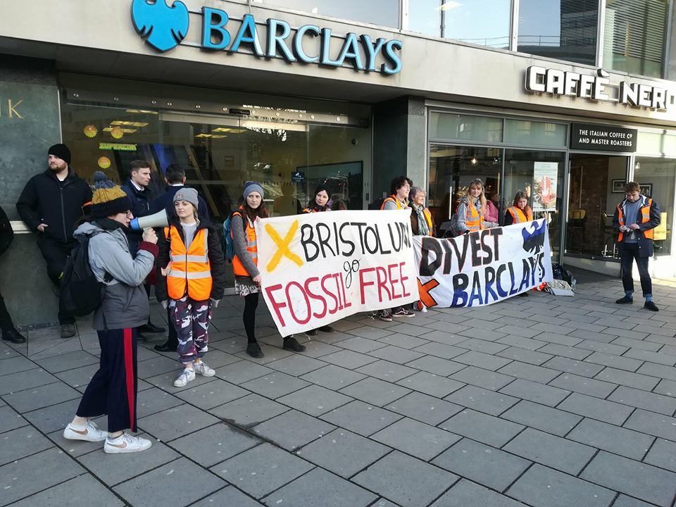 180215 barclays bank protest Fossil Free University of Bristol