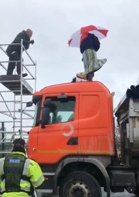 Lorry surfing protest at Tinker Lane, 19 February 2018. Photo: Nick Potts