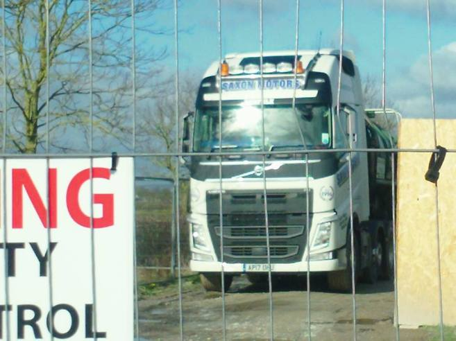 Tanker leaving Third Energy fracking site at Kirby Misperton, 20 February 2018. Photo: Steve Spy