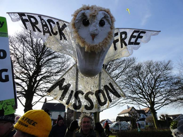 Frack Free Misson mascot at Bolsover march, 24 February 2018. Photo: Dale Glossop