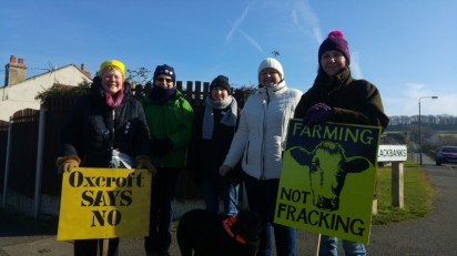 Campaigners joining the march to Bolsover, 24 February 2018. Photo: DrillOrDrop