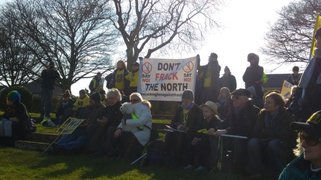Campaigners at the Bolsover rally, 24 February 2018. Photo: DrillOrDrop