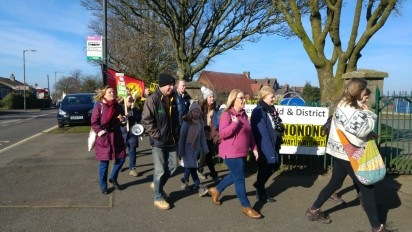 Campaigners on the march to Bolsover, 24 February 2018. Photo: DrillOrDrop